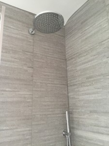 Grey tiled shower, rose head